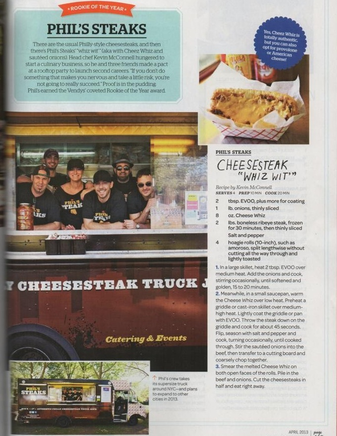 Phil's Steaks featured in Rachael Ray Magazine